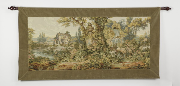 Neoclassical style loomed tapestry with rod, 75