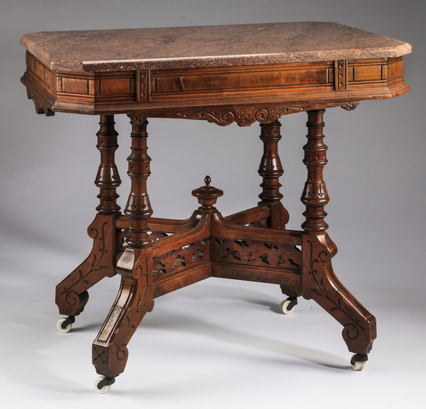 19th century Eastlake marble top side table