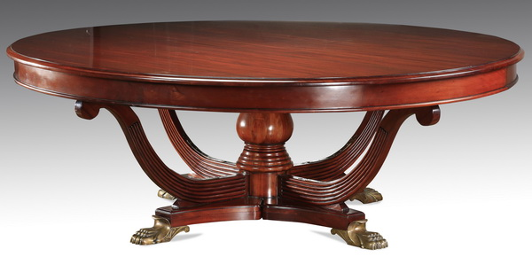 Empire style circular dining table, 86
