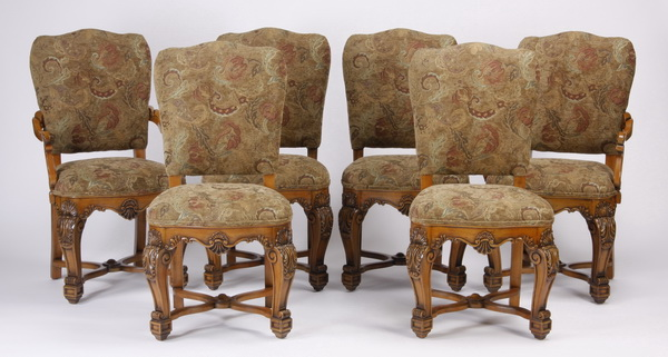 (6) Italian carved walnut dining chairs