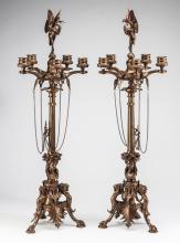 (2) Art Nouveau style 5-light candelabra , 31