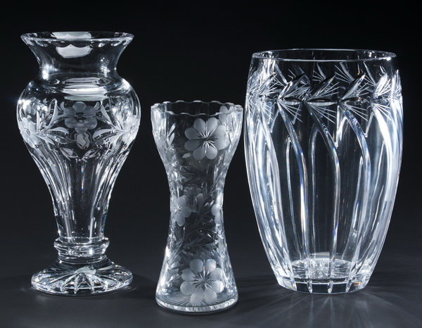 (3) Cut crystal flower vases, Gorham and Rena