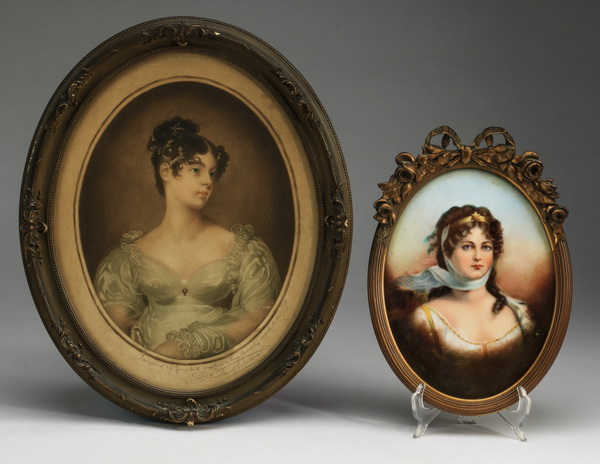 (2) Framed portraits, one porcelain of Queen Louise