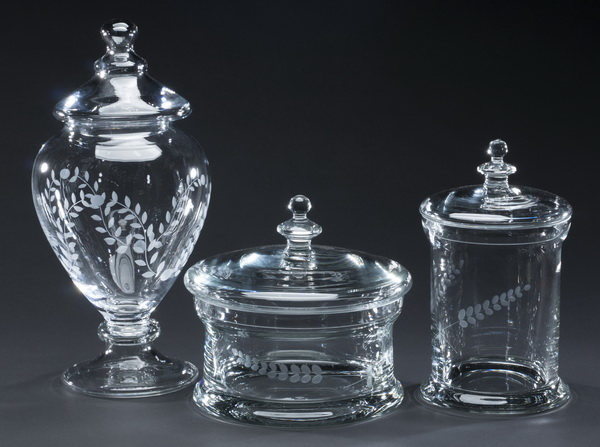 (3) Etched glass lidded containers