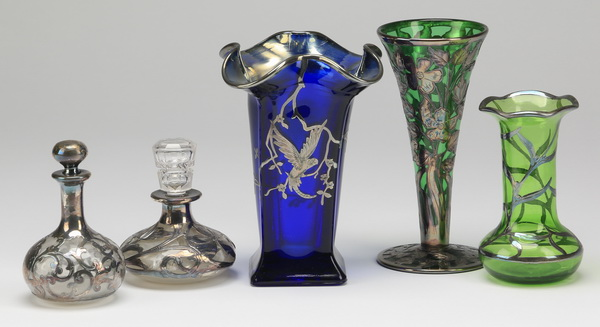(5) Early 20th c.silver overlay glass vessels