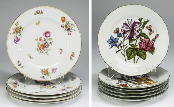 (11) Continental floral porcelain plates