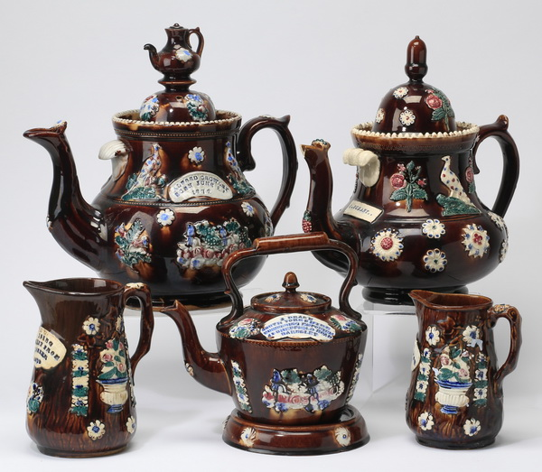 (5) 19th c. Measham presentation pieces