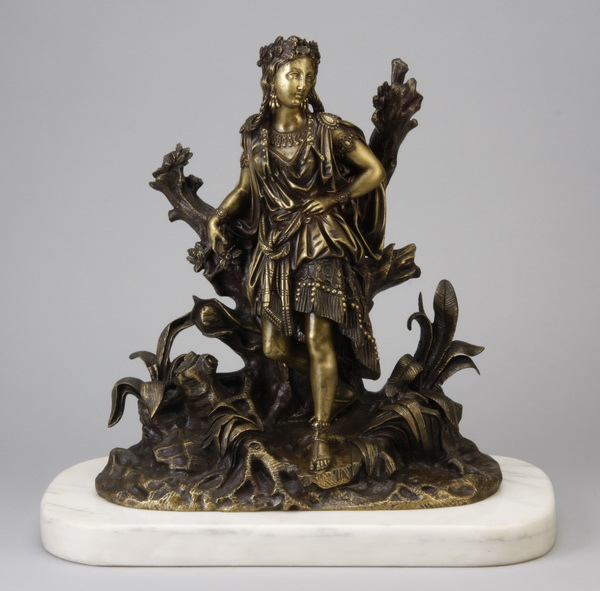 Early 20th c. figural bronze sculpture w/ marble base