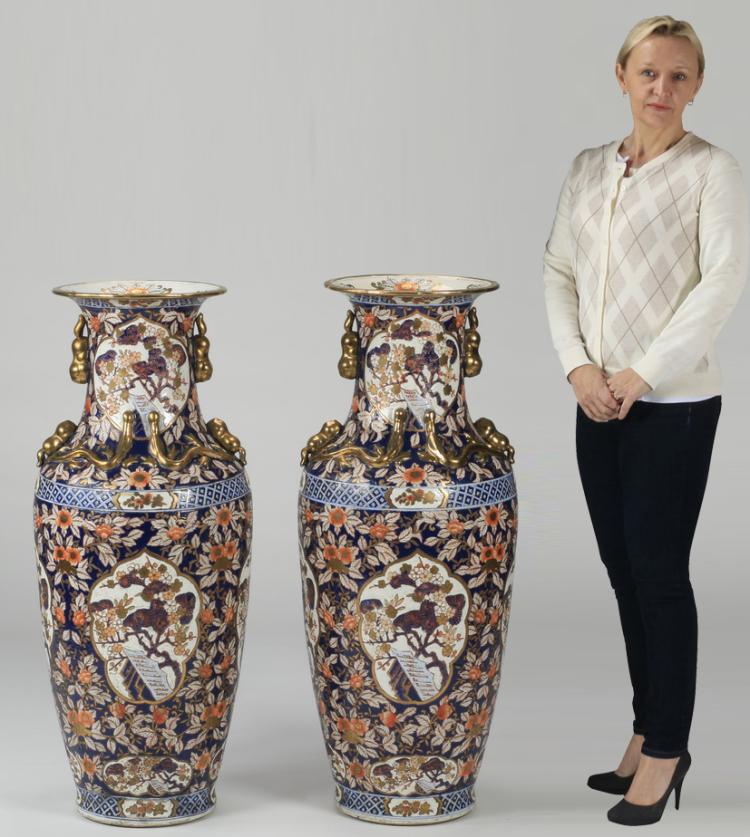 (2) Chinese hand painted porcelain floor vases, 37