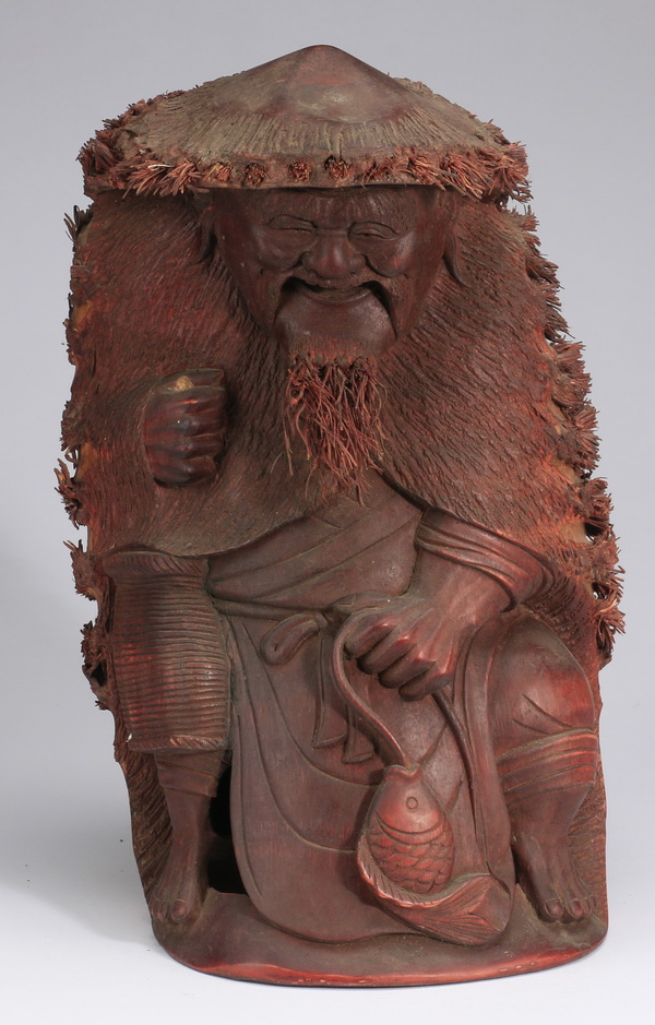 Chinese bamboo sculpture of a fisherman, 13