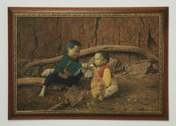 Chinese O/c of two boys in a farmyard, signed, 42
