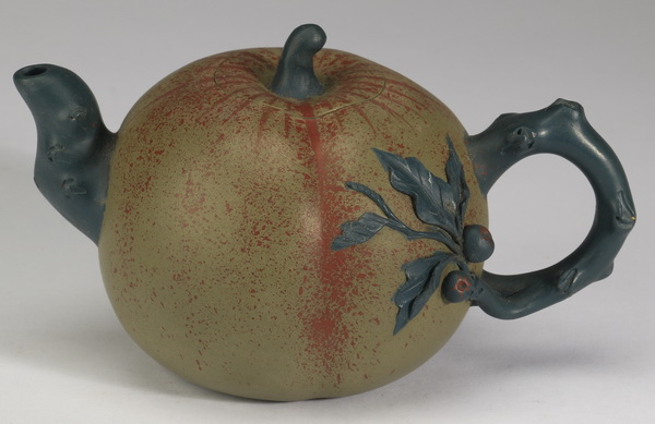Chinese polychrome gourd Yixing teapot, 5