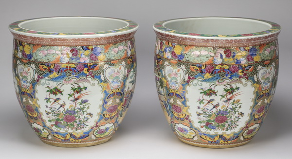 (2) Chinese Rose Medallion fishbowls, 16
