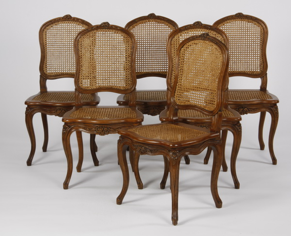 (6) French Provincial style woven cane chairs