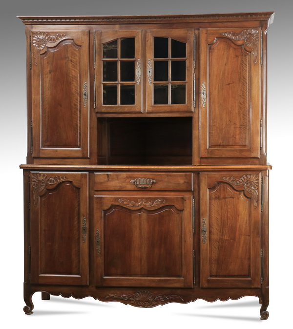 French Provincial style walnut buffet hutch