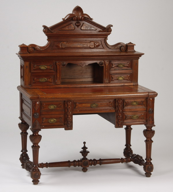 19th c. Continental carved walnut desk, 42