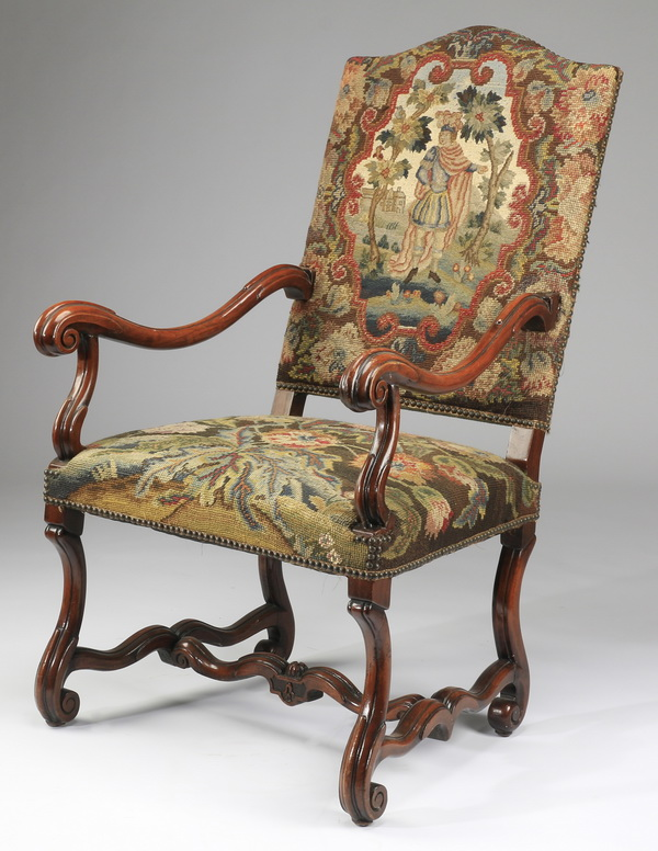 19th c. French Provincial armchair in needlepoint