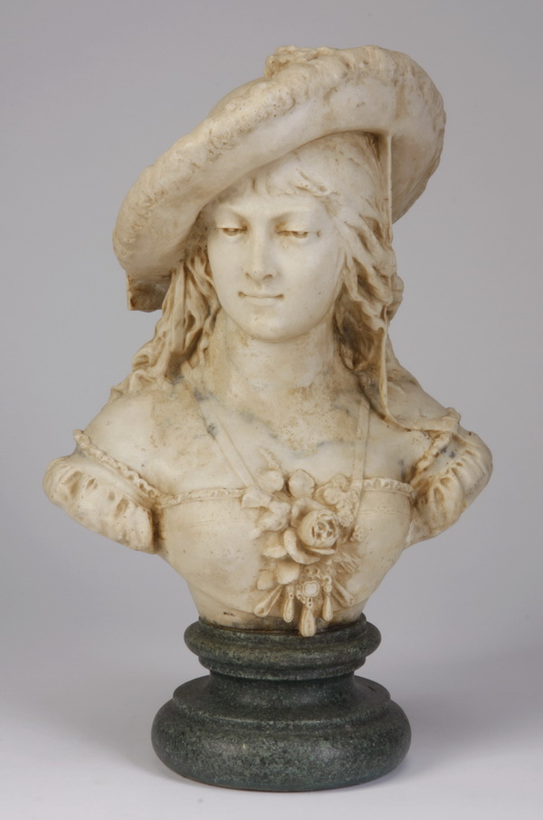 20th c. composition bust of a young lady, 16