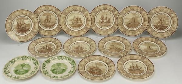 (14) Wedgwood American sailing ship plates