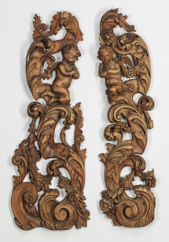 (2) 19th c. Italian wood carvings of putti