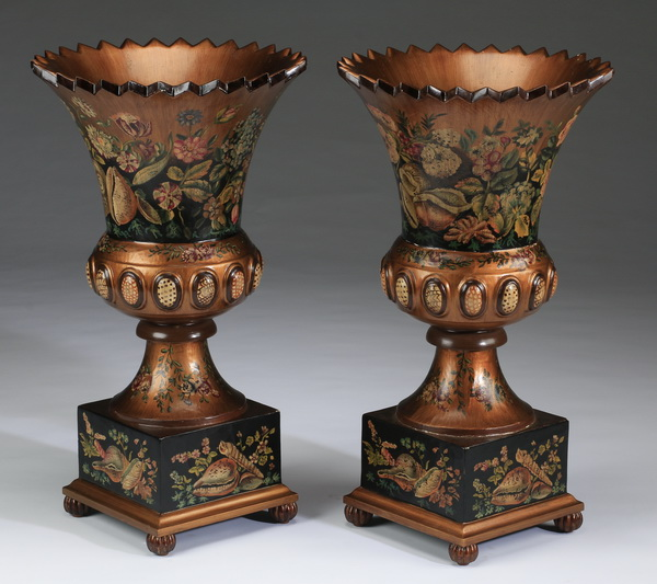 (2) Neoclassical-style paint decorated wood urns, 28