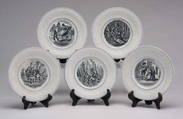 (5) French Gien porcelain plates