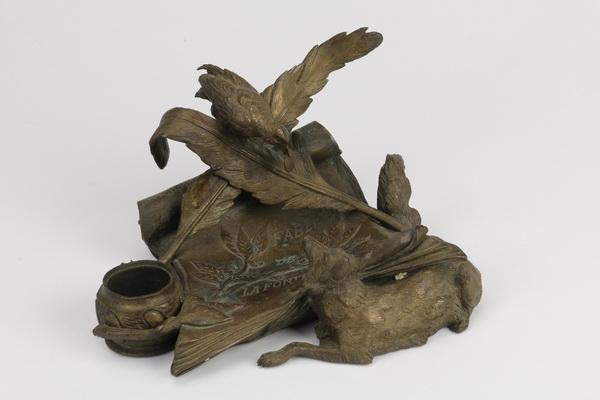Jules Moigniez bronze figural inkstand, 19th c.