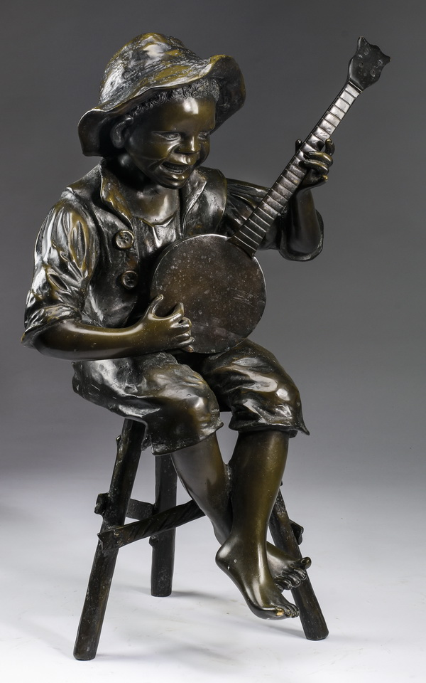 Bronze sculpture, boy with banjo, 32