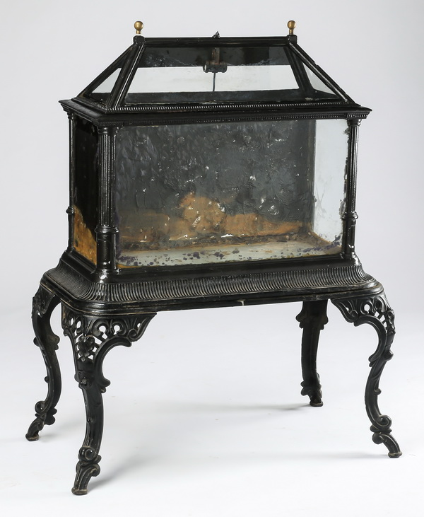 19th c. Rococo Revival cast iron aquarium, 49