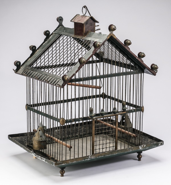 English vintage wood and wire birdcage, 19