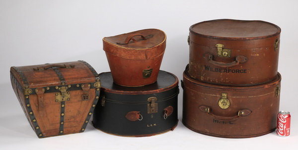 5-Pieces vintage canvas and leather luggage