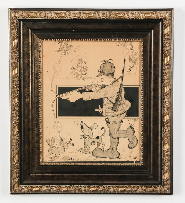 Framed American cartoon of hunter, signed, dated 1921