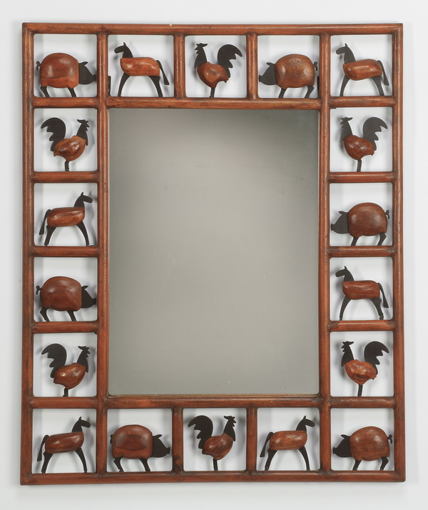 Wood & metal framed mirror with animals, 28