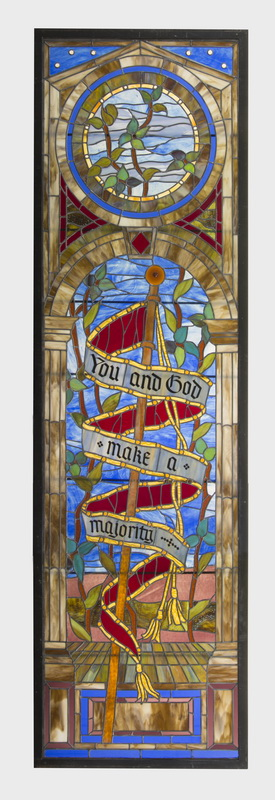 Custom crafted stained glass panel, 116