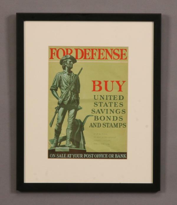 Framed vintage WW II savings bond poster