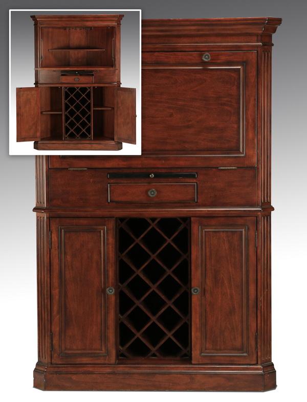 Carved corner cabinet with wine storage, 66