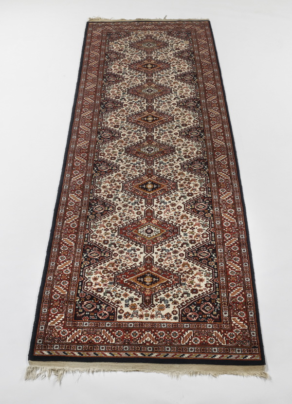 Hand knotted Persian Karajeh wool runner, 11' long