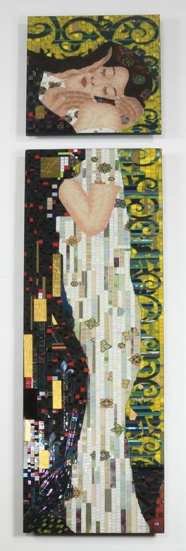 Mosaic panels after Klimt's 'The Kiss', 98