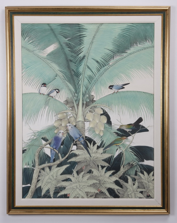 Wy Persa signed, O/c of birds in palm tree, 56
