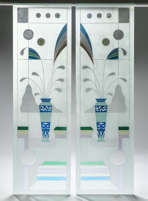 (2) Unframed Art Deco style glass panels, 59