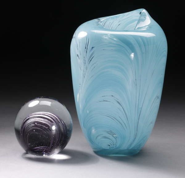 2pcs contemporary art glass - vase & paperweight