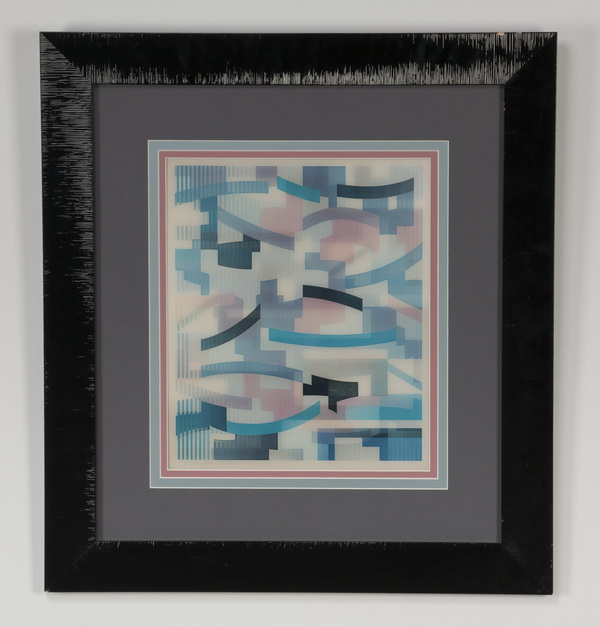 20th c. framed whimsical optical illusion grid