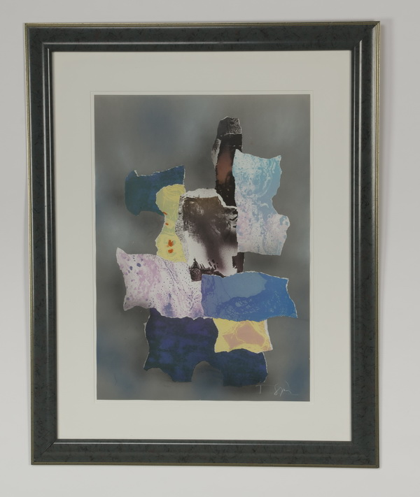 Laszlo Dus mixed media lithograph c. 1987, signed