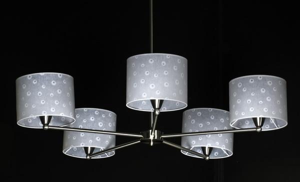 Contemporary chrome chandelier w/ parchment shades