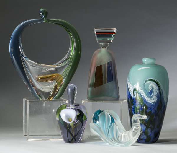 5-Piece grouping of art glass articles