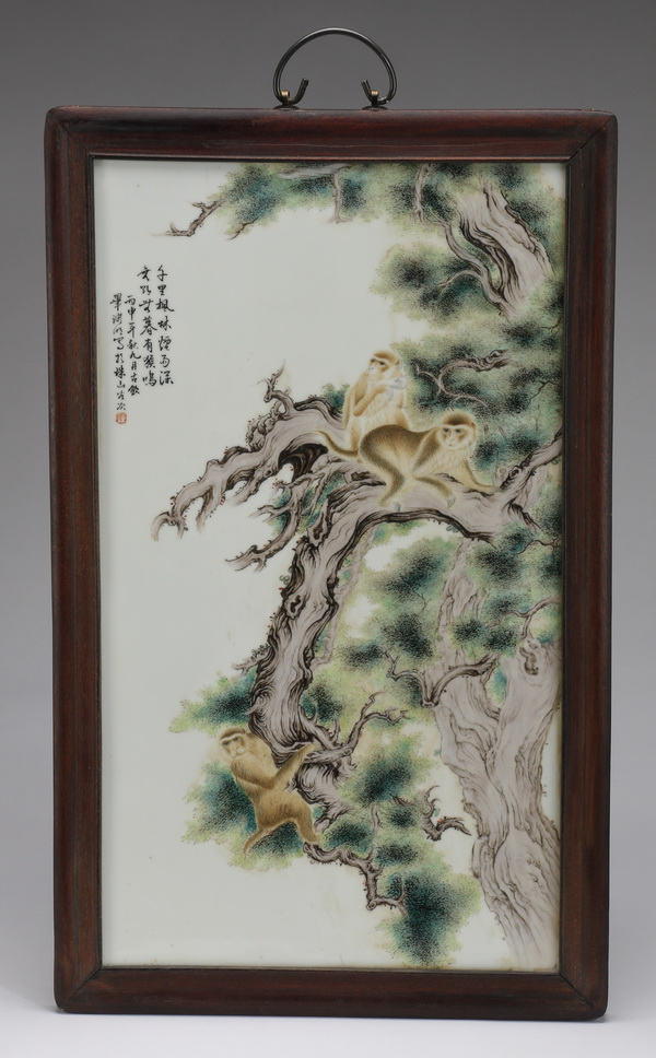 Chinese porcelain monkey plaque, 24