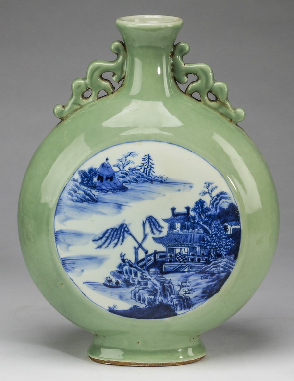 Chinese riverscape moon flask, 14