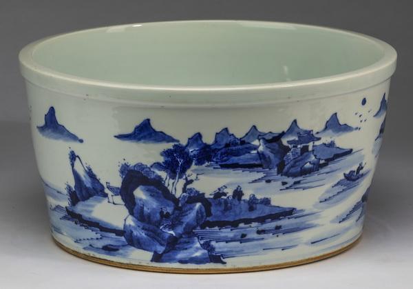 Chinese landscape scene basin, 13