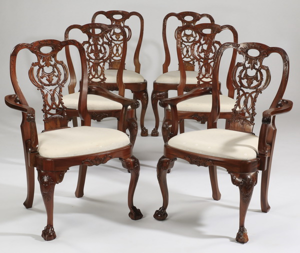 (6) Chippendale style arm and side chairs