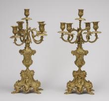 (2) 19th c. gilt bronze candelabra, 20